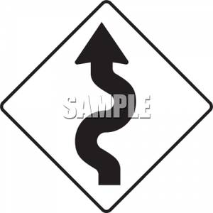 300x300 Free Clip Art Picture of a Curves Ahead Road Sign