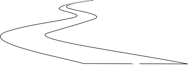 600x209 The Curve In Road Black And White Clipart