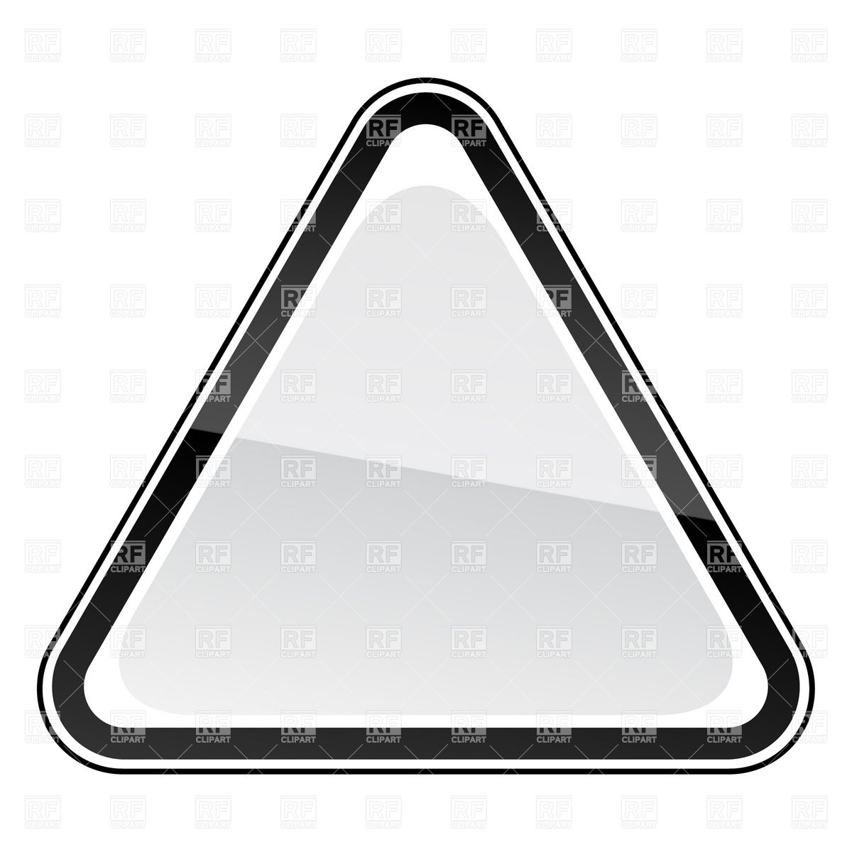 1200x1200 White blank three cornered road sign with black border Royalty