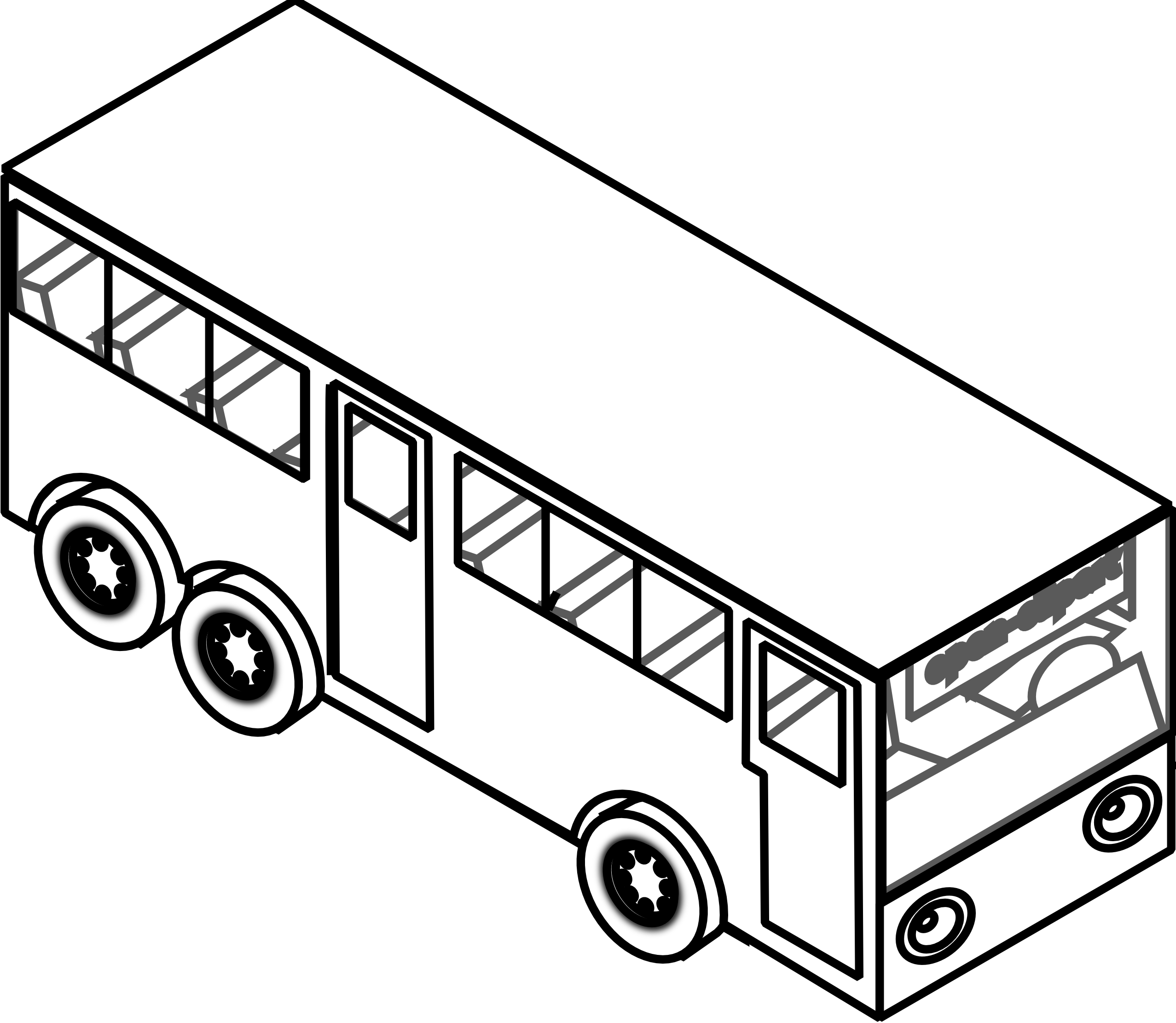 2555x2222 Black and white bus on road clipart collection