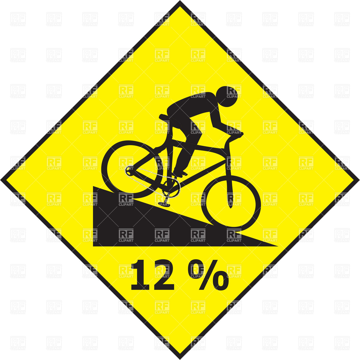 1200x1200 Road Slope Sign With Cyclist Royalty Free Vector Clip Art Image