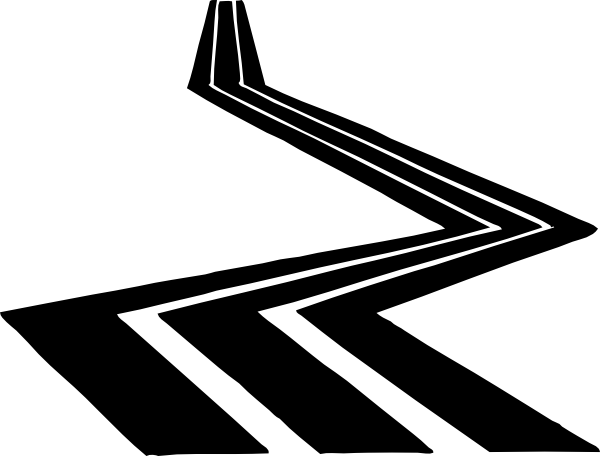 600x456 Winding Road Black And White Clipart