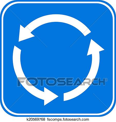 450x470 Clip Art Of Roundabout Crossroad Road Traffic Sign K20569768
