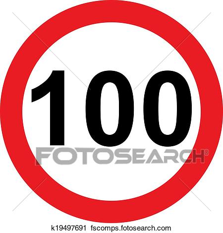 450x470 Clipart Of 100 Speed Limitation Road Sign K19497691