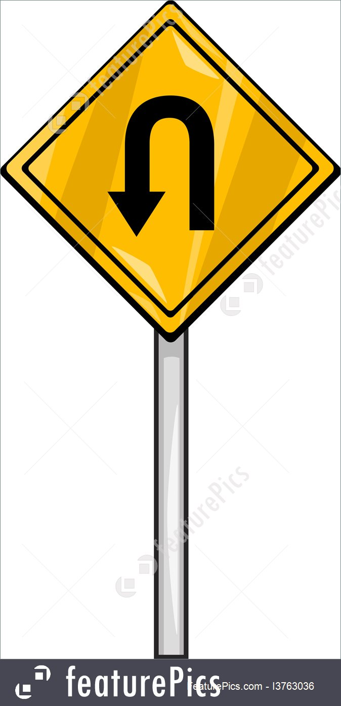674x1392 U Turn Sign Clip Art Cartoon Illustration