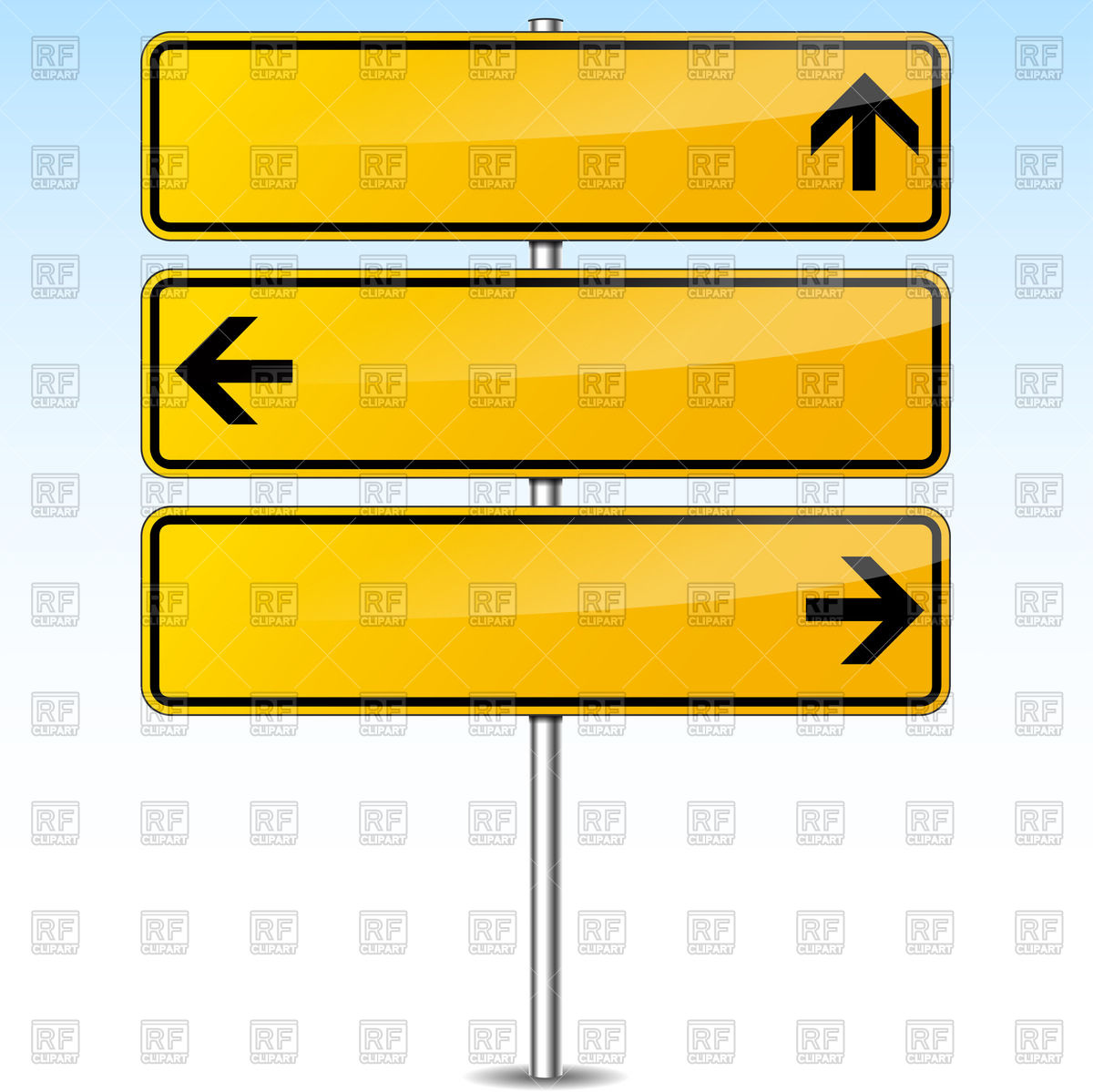 1200x1199 Blank yellow traffic sign with arrows Royalty Free Vector Clip Art