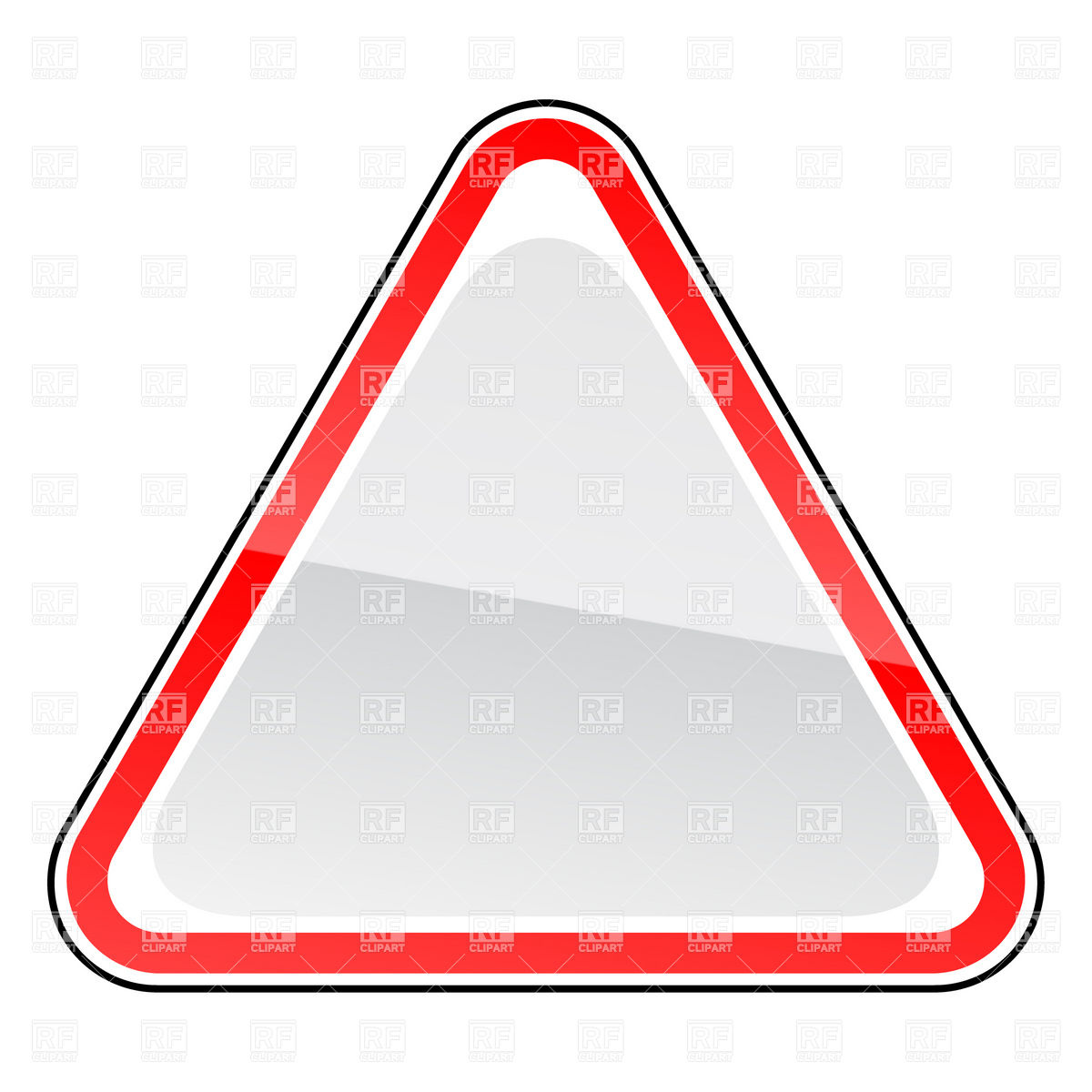 1200x1200 Triangle blank road sign template Royalty Free Vector Clip Art
