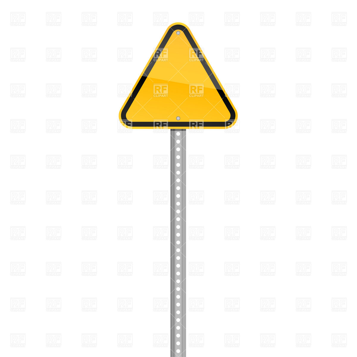 1200x1200 Yellow three cornered road sign on pole blank template Royalty