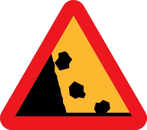600x533 Falling Rocks Road Sign clip art Free vector in Open office