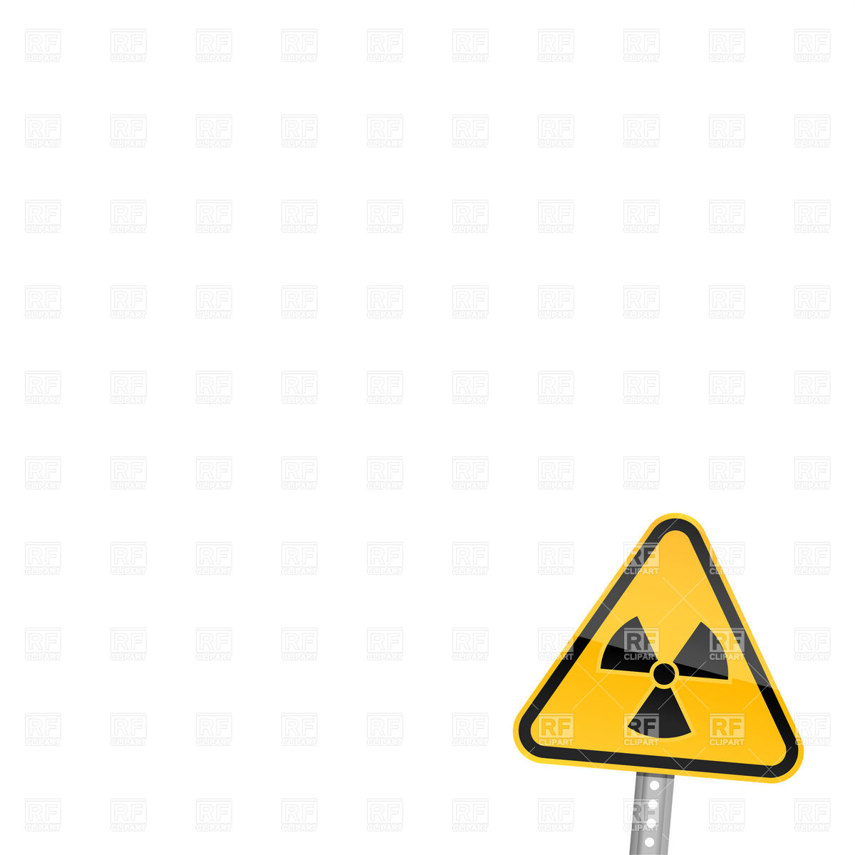 1200x1200 Warning road sign with radiation symbol Royalty Free Vector Clip