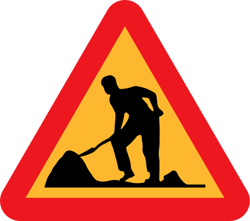 500x443 Workmen ahead road traffic sign vector clip art Public domain