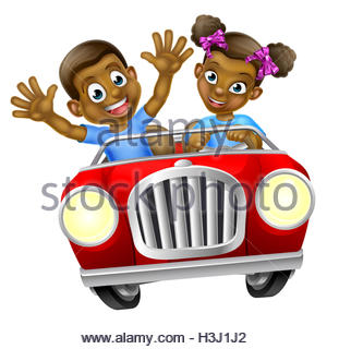 311x320 Cartoon Boys Driving Fast In A Car On A Road Trip Stock Photo