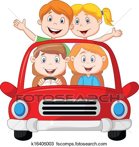 445x470 Clipart Of Road Trip With Family Cartoon K16405003