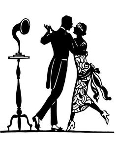 236x295 Black Vector Silhouette Of A Couple Dressed In 1920s Fashion