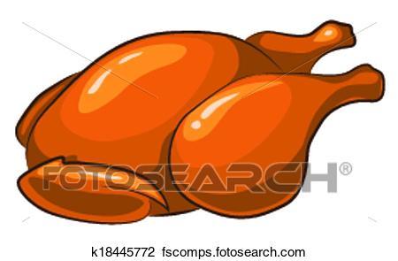 450x295 Clipart Of Roast Chicken K18445772