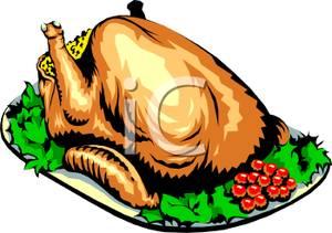300x211 Art Image A Roast Chicken On A Platter