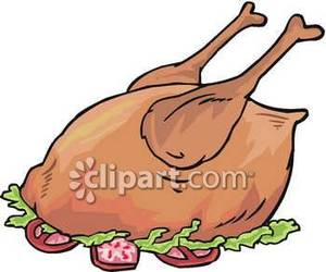 300x250 Roasted Chicken Royalty Free Clipart Picture