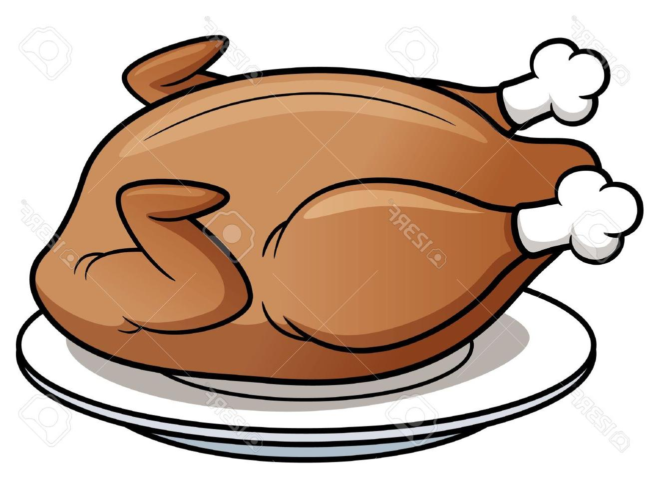 1300x975 Vector Illustration Of Roast Chicken Stock Cartoon