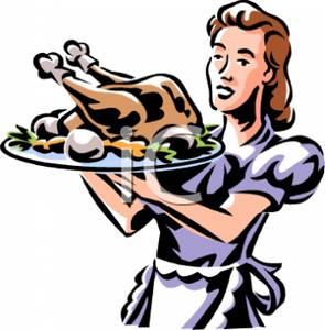 295x300 Woman Serving A Roast Chicken Clip Art Image