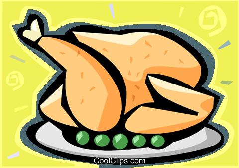 480x338 Roast Chicken Royalty Free Vector Clip Art Illustration Vc009319