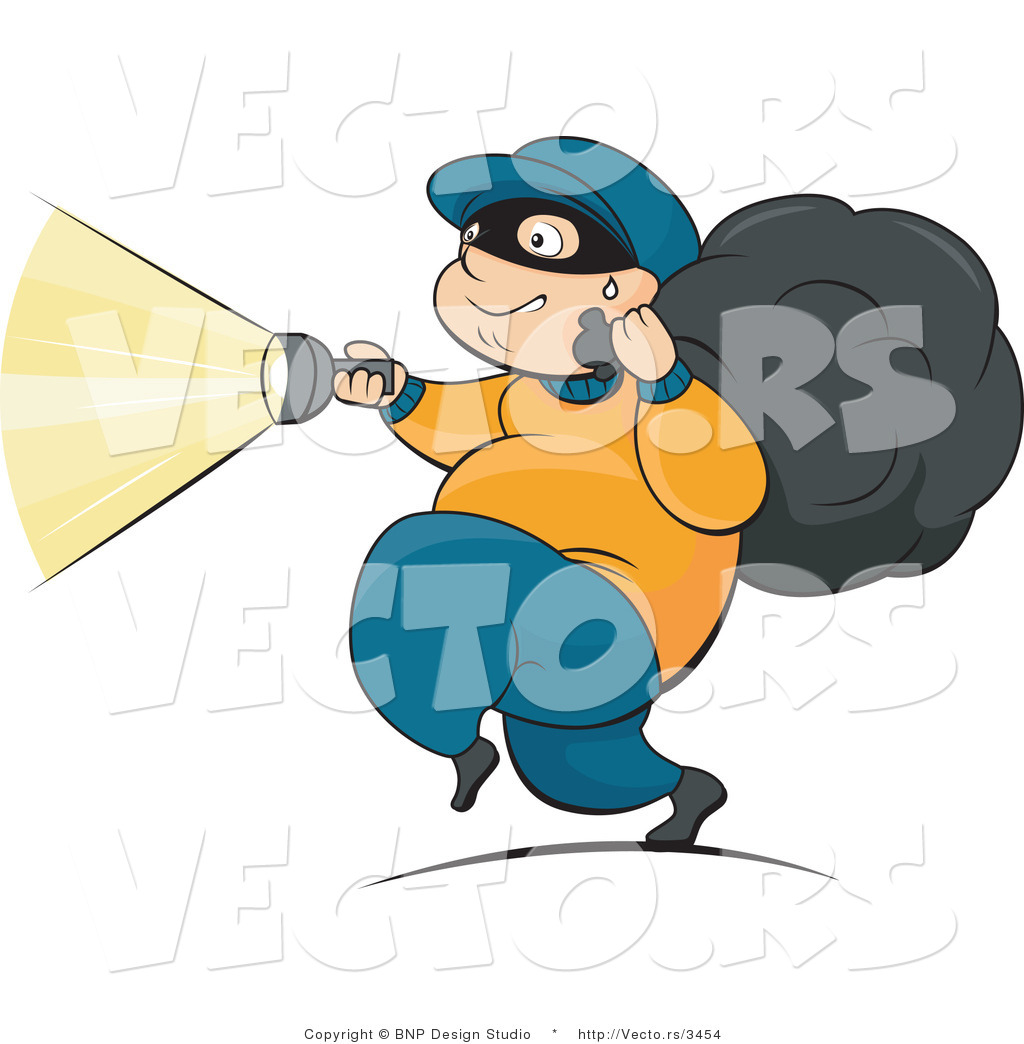 1024x1044 Vector Of Robber Running With Flashlight And Stolen Property