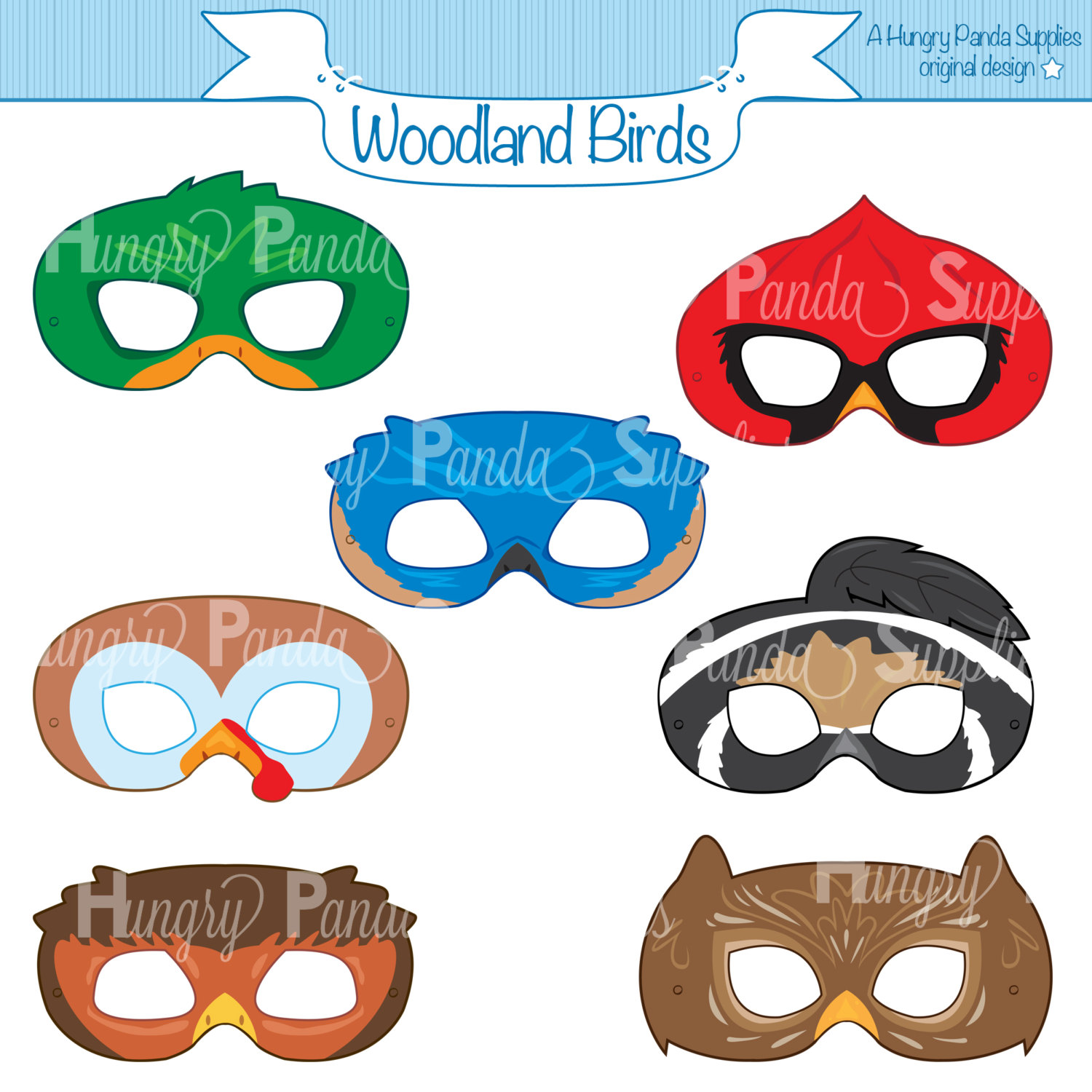 1500x1500 Woodland Forest Birds Printable Masks Woodland Turkey Mask