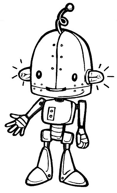 394x649 Robots With Ear Lights Robots Coloring Pages Robot
