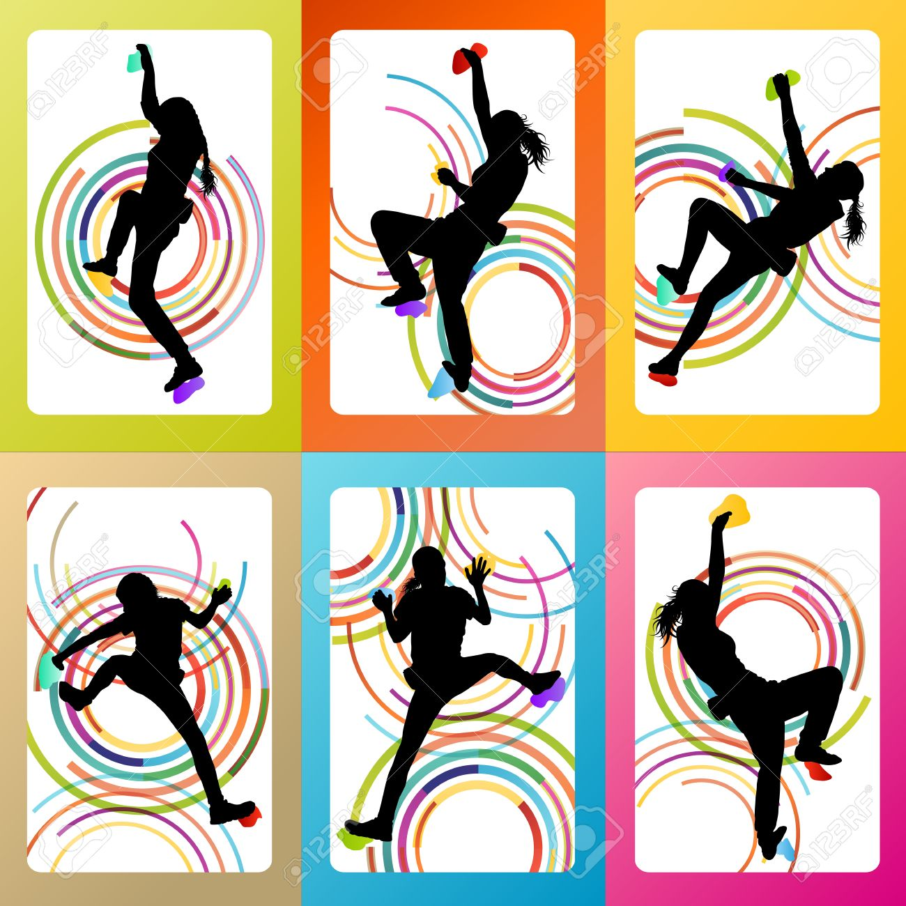 1300x1300 Girl Climbing Rock Wall Set Vector Background Concept For Poster