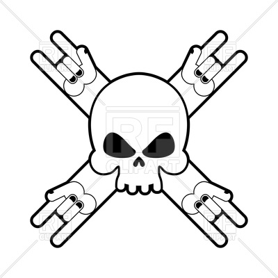 400x400 Skull With Hands Rock Sign Royalty Free Vector Clip Art Image