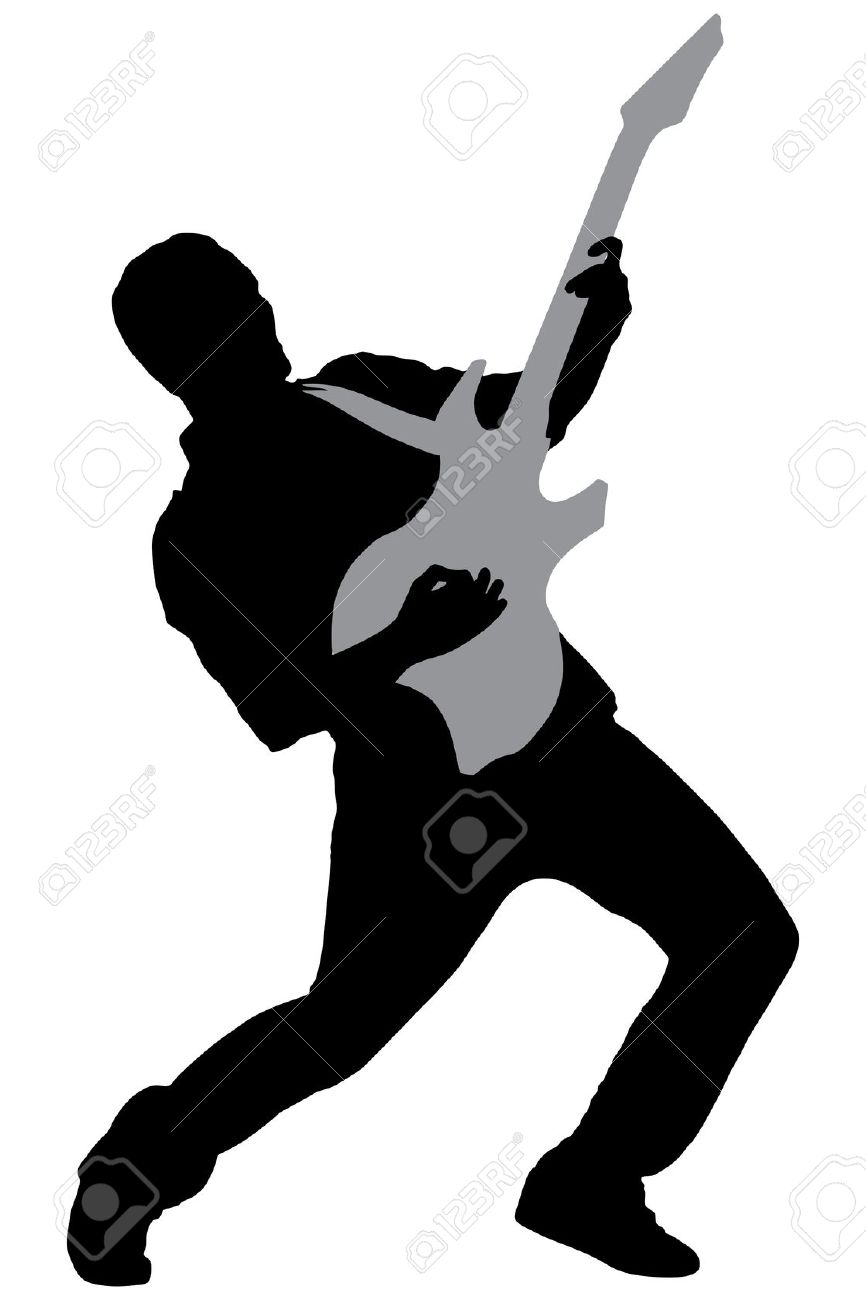 866x1300 Rock Guitar Player Clipart