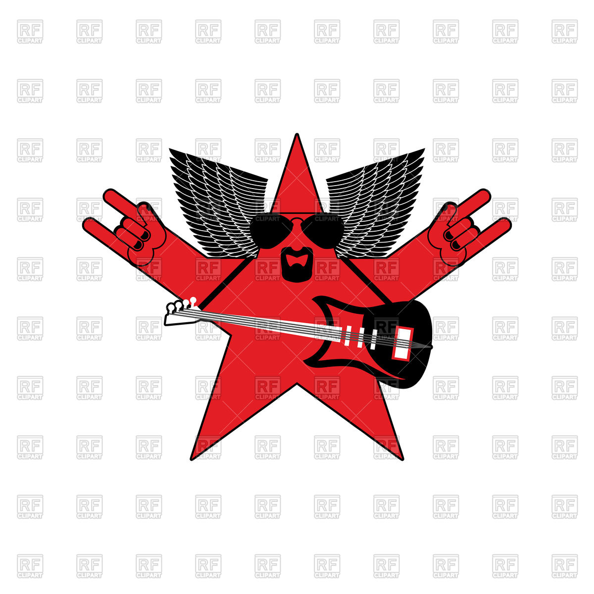 1200x1200 Rock Star Emblem, Guitar And Star