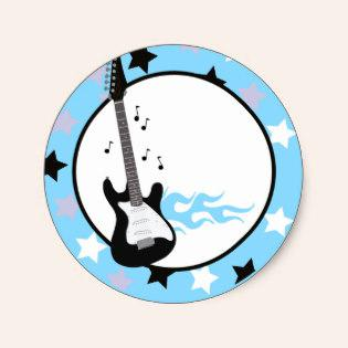 315x315 Blue Rock Star Guitar Envelope Seals Cupcake Business Cards