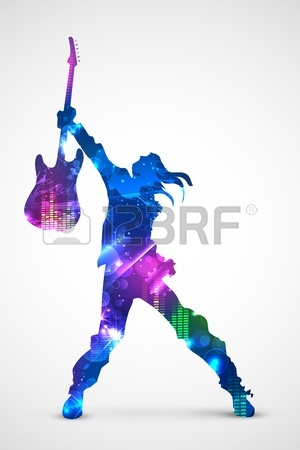 300x450 Illustration Of Rock Star With Guitar For Musical Background