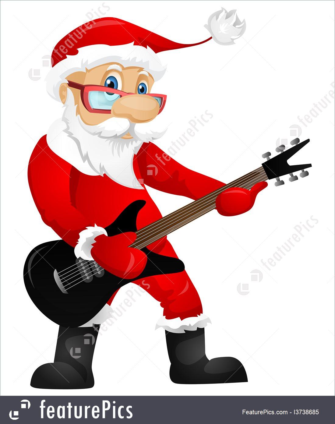 1100x1392 Illustration Of Santa Claus Rock Star