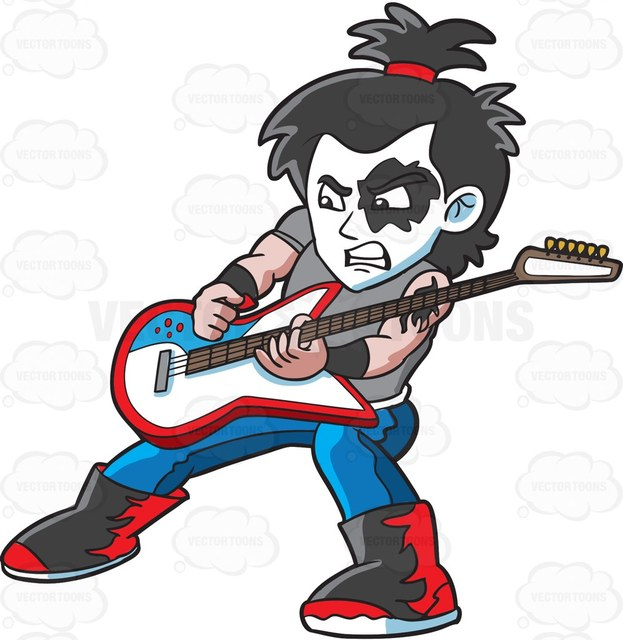 623x640 A Hard Rock Guitar Man Cartoon Clipart