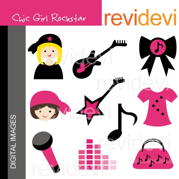 600x600 Female Rock Star Clipart