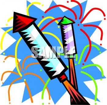 350x344 Firework Rockets Shooting Off