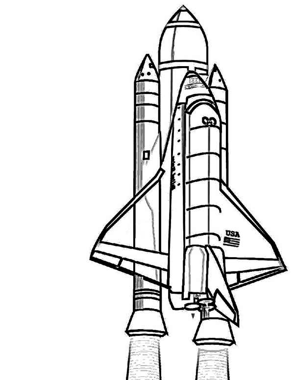 600x776 NASA Discovery Space Shuttle Coloring Page