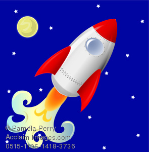 295x300 Clip Art Image Of A Cute Rocketship Flying Across A Night Sky