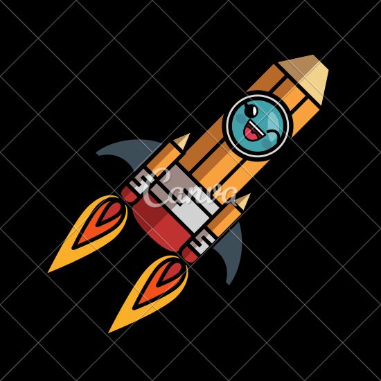 550x550 Pencil Rocketship Cartoon