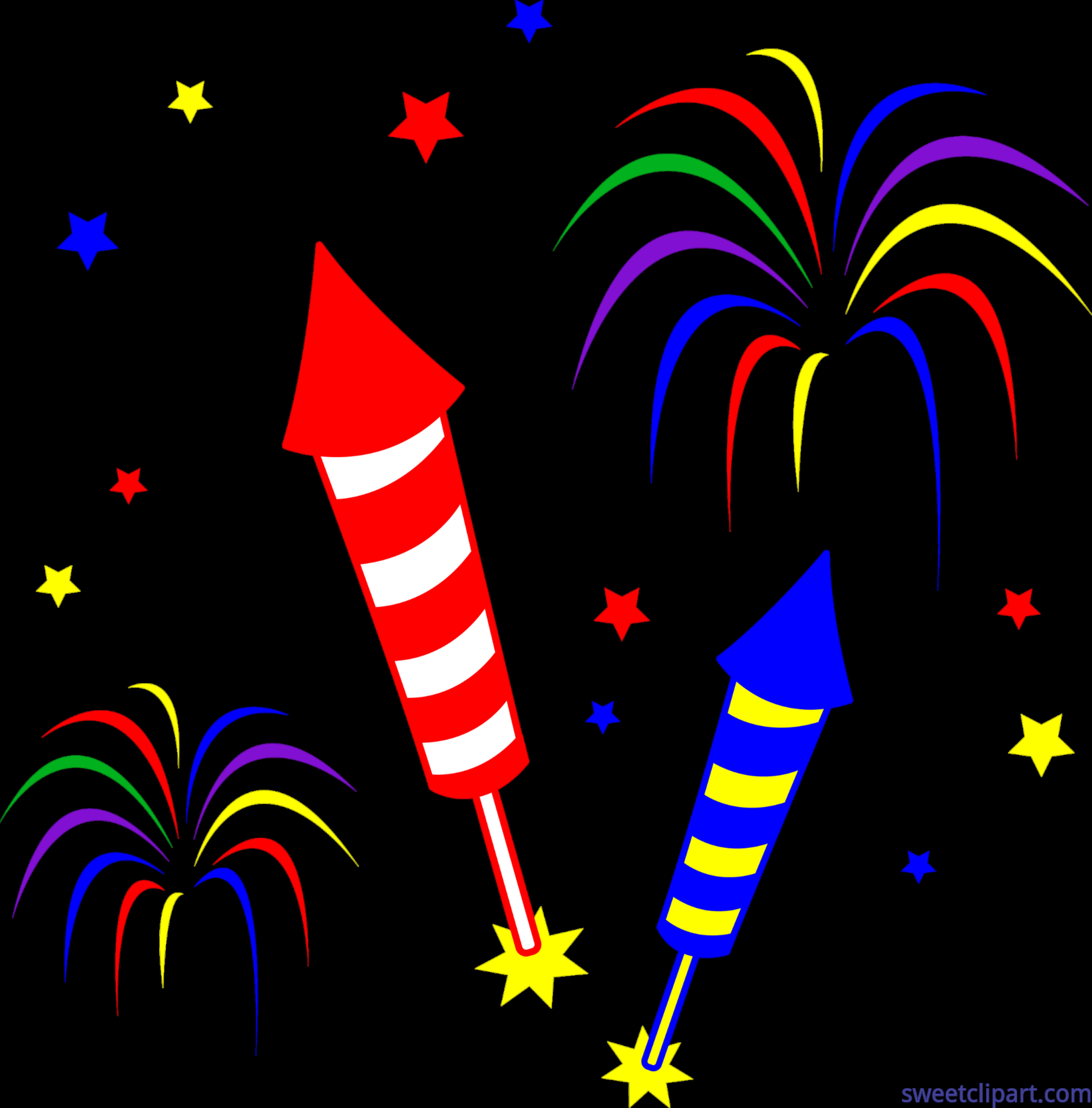 7358x7466 Fireworks Rockets Clip Art