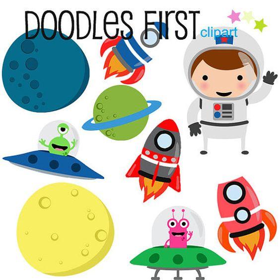 564x564 Aliens Rockets Spaceships And Astronauts Digital Clip Art