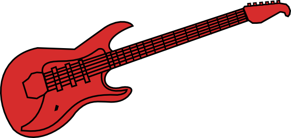 600x284 Red Guitar Clipart