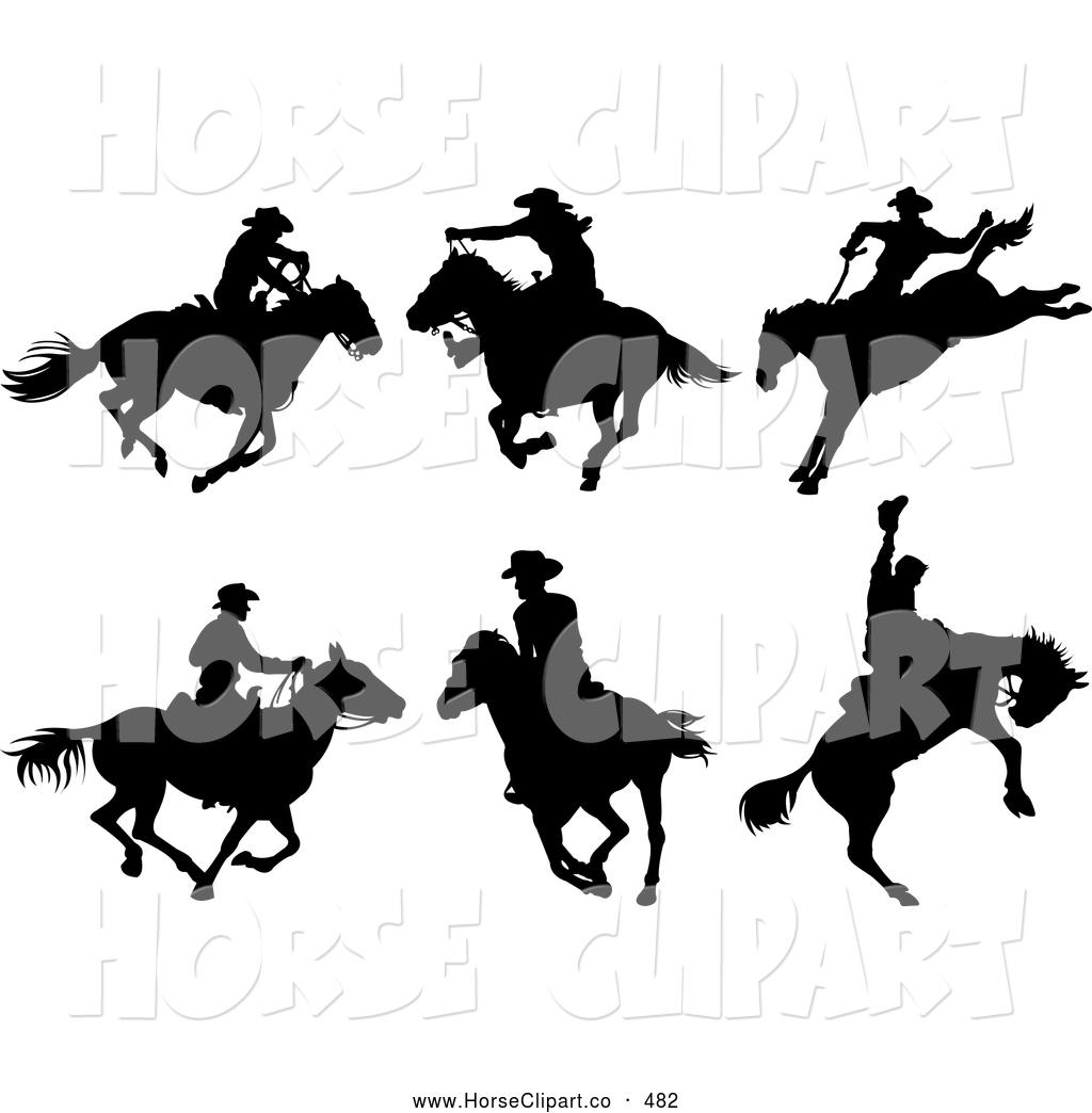 1024x1044 Clip Art Of A Digital Set Of Six Cowboy On Horseback Silhouettes