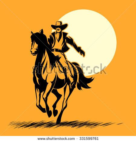 450x470 Cowboy Riding Horse Clipart Silhouette