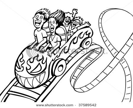 450x365 Cartoon Roller Coaster Clipart