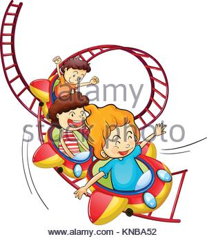 300x347 Illustration Of Kids Riding A Rollercoaster Stock Photo, Royalty