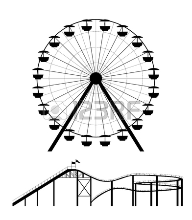 392x450 Ferris Wheel And Roller Coaster Silhouette Vector Illustration