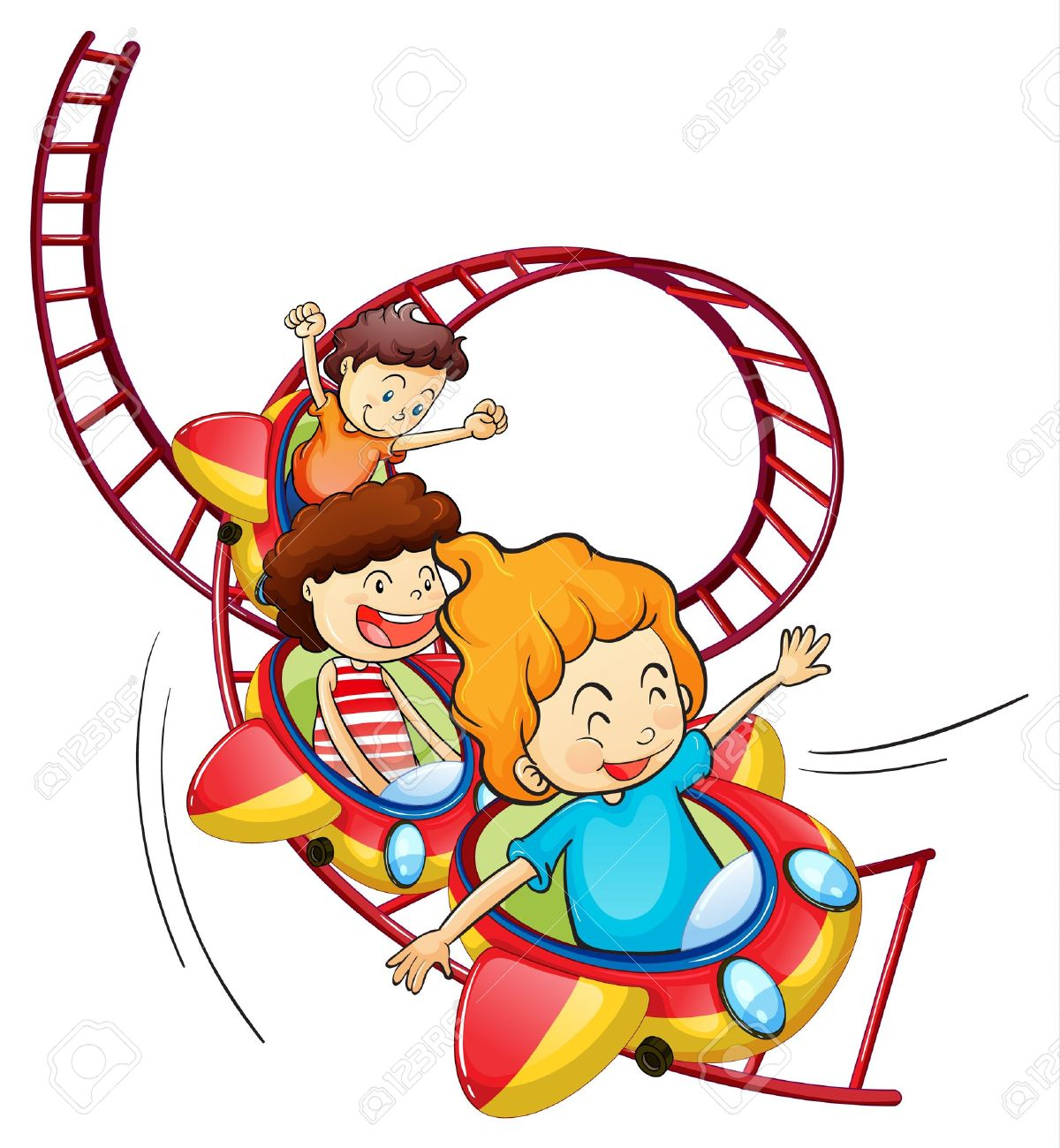 1200x1300 Illustration Of Three Children Riding In A Roller Coaster