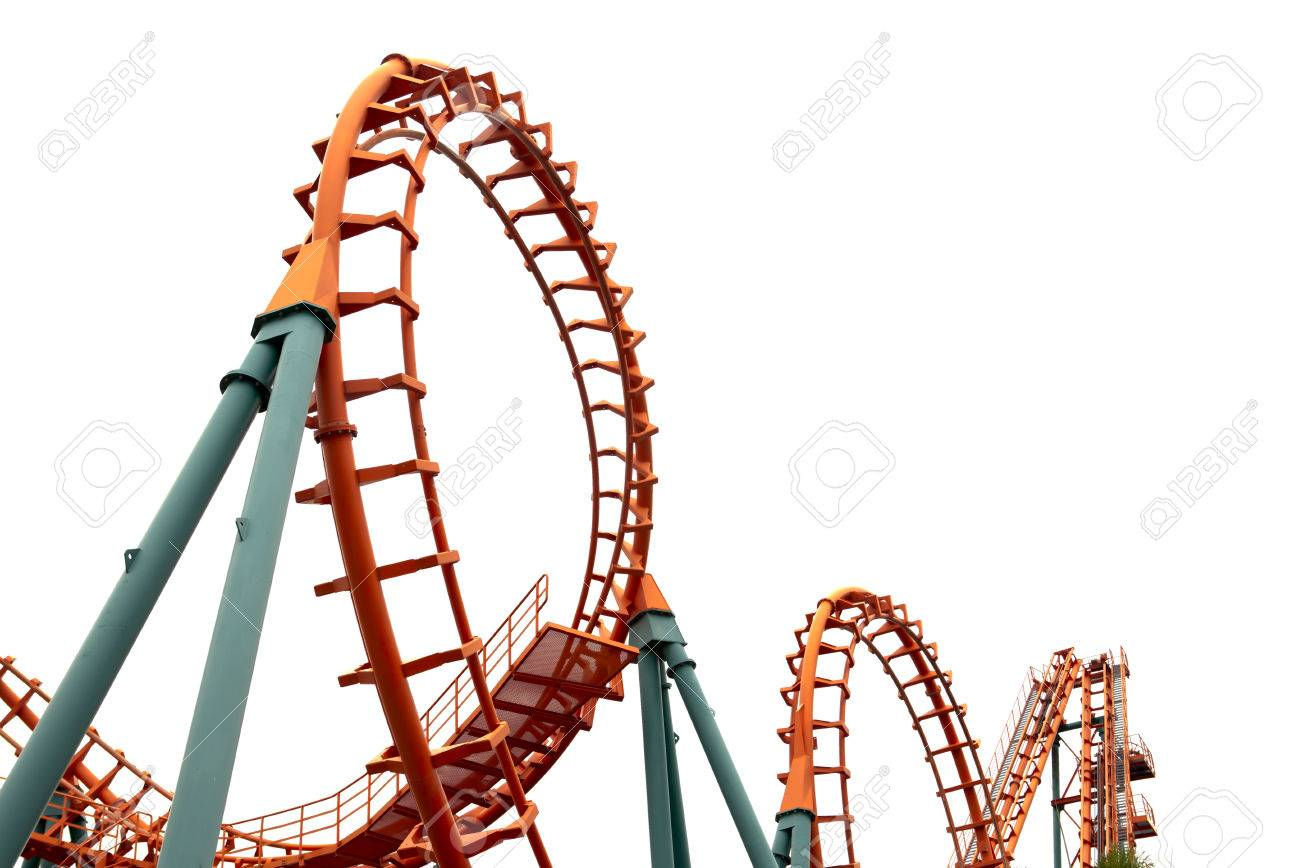 1300x868 A Segment Of A Roller Coaster ,on White Background Stock Photo